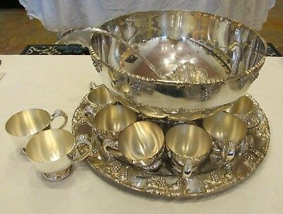 RARE Antique ART DECO Crescent GRAPES Silverplate Punch Bowl Set William Briggs