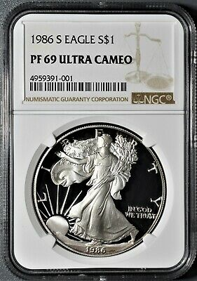 1986-S 1oz PROOF AMERICAN SILVER EAGLE, CERTIFIED BY NGC PF69 ULTRA CAMEO,  CP31