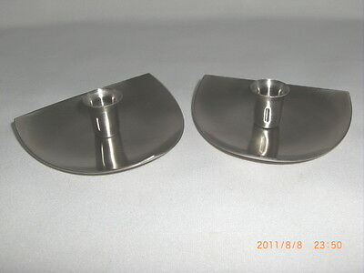2 Mid Century Modern Eames Era Stainless Steel Candleholders