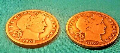 1902 & 1909 O Barber Head Half Dollar ~ Owe You Own Piece Of History~Ships Free