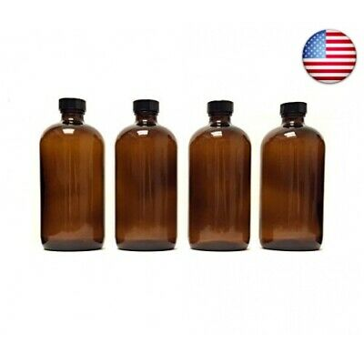 8oz Amber Glass Boston Round Bottles (4 Pack); w/Poly Cone Caps Pe(8 oz w/Caps)