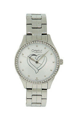 Caravelle by Bulova 43L151 Women's Round Analog Radial Heart Clear Stone Watch