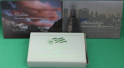 2007 Proof and Uncirculated Annual US Mint Coin Sets PDS 42 Coins