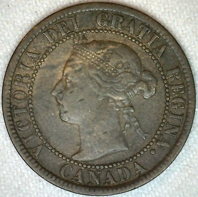 1893 Bronze Canadian Large Cent Coin One Cent Canada Fine 1c K319