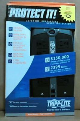 NEW Tripp Lite Protect It! 10-Outlet Surge Protector, 8 ft Cord TLP1008TEL