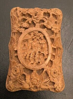 Antique 19Th C Chinese Deep Carved Figure Scenes Flower Sandalwood Card Case Box