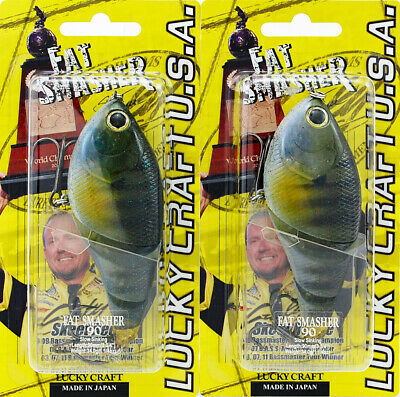 (Lot Of 2) Lucky Craft Fat Smasher 90 Fatsmasher90-148 Ghost Baby Blu Gill L9105