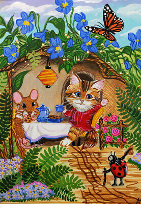 ACEO Original Cat Kitten Calico Mouse Mice Ladybug Butterfly Monarch A. Berbling
