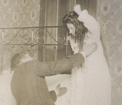 RARE Antique VIOLENT THEATER Photo MAN GROPES GIRL IN NIGHTGOWN! Nasty MELODRAMA