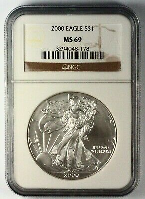 2000 Silver American Eagle MS69 NGC 1 oz CERTIFIED