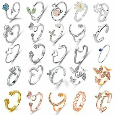 Cat Ring Adjustable Pearl Crystal Animal Leaf Paw Open Band Women Finger Knuckle
