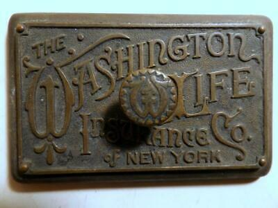 Antique Brass & Iron Washington Life Insurance Co of NY Victorian Paperweight