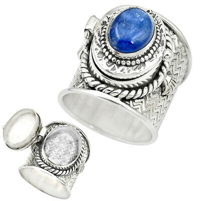 925 SILVER NATURAL Blue Tanzanite Poison Box Ring Jewelry