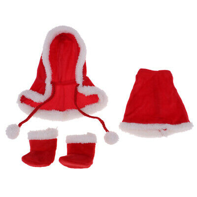 3pcs Doll Clothes Christmas Cloak Outfit For 25cm Mellchan Dolls Xmas Gifts