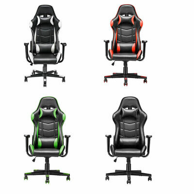 Leather Gaming Racing Chair Office Executive Recliner Adjustable w/ Mini Pillows