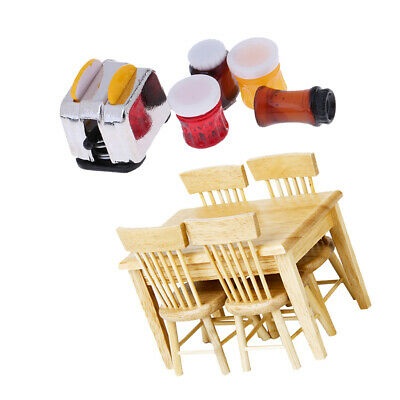 1/12 Dollhouse Furniture Kitchen Accs Wooden Table Chairs & Bread Jams Gift