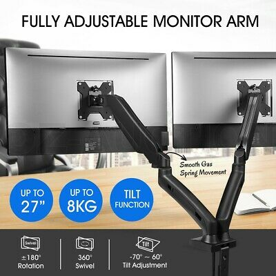 Dual Arm Monitor Stand Computer LED Screen Display TV Bracket Gas Spring Holder