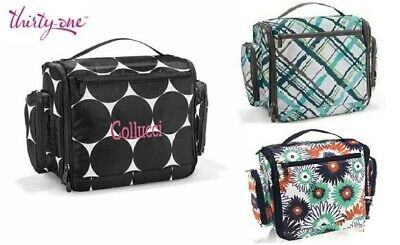 Thirty one Travel make up cosmetic Deluxe Beauty bag Big dot sea plaid 31 gift