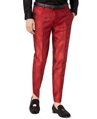 78bbe7b1 INC NEW Red Mens Size 34X32 Flat Front Metallic Circle Slim Fit Pants $69  #227