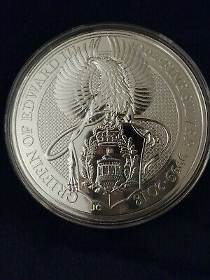 2018-Great-Britain-10-Oz-Silver-Queens-Beast-Coin-The-GRIFFIN-in-Capsule