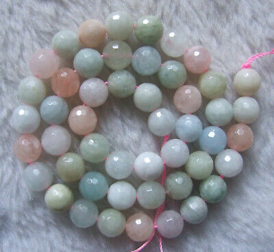 6mm 8mm 10mm Natural Morganite Faceted Round Loose Beads 15.5""