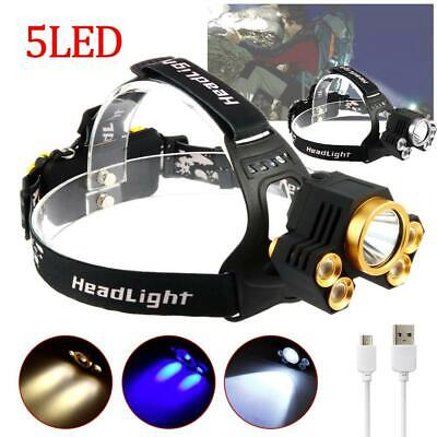 X-XML T6 5X LED Headlamp Flashlight 90000 Lm Focus Head Light Torch Lamp L#~
