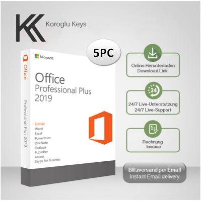 Microsoft Office 2019 Professional Plus 5 PC, 32&64 Bits, Produktkey per E-Mail