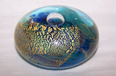 Jonathan Harris Glass Studio Ironbridge Blue/Gold Paperweight
