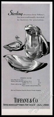 1955 Tiffany's sterling silver swan dish pitcher art vintage print ad