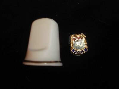 Vintage Collectable China Thimble With Enamel Crest For Poole Tlc
