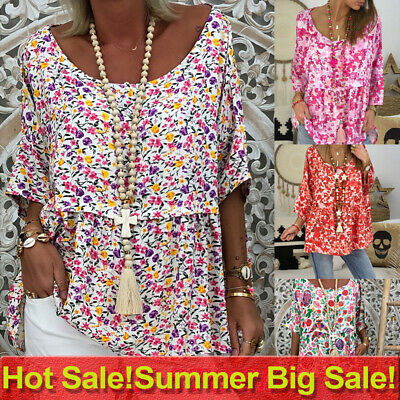 Womens Floral Loose Blouse T Shirt Ladies Summer Baggy Pullover Tops Plus Size