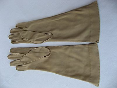 "Cornelia James long (12 1/2"") taupe cotton hand stitched gloves. Size 6 1/2 (#5)"