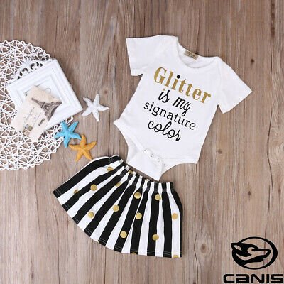 2PCS Set Infant Toddler Baby Girl White Tops Romper + Black Skirt Outfit Clothes