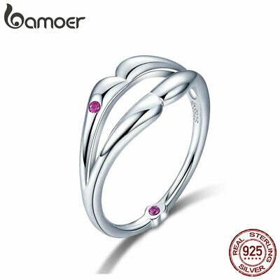 BAMOER Solid S925 Sterling silver Finger Ring Kiss With AAA CZ For Women Jewelry