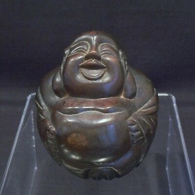 Vintage Hand Carved Wooden Sitting Happy Laughing Buddha