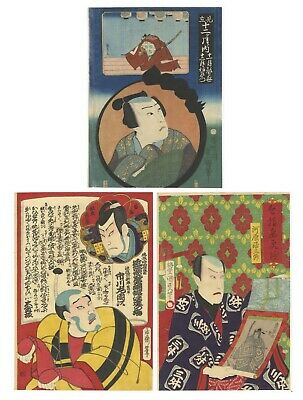 Original Japanese Woodblock Print, Ukiyo-e, Set of 3, Kabuki Portraits, Theatre