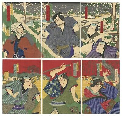 Original Japanese Woodblock Print, Ukiyo-e, Set of 2 Kabuki Triptychs,Snow Scene