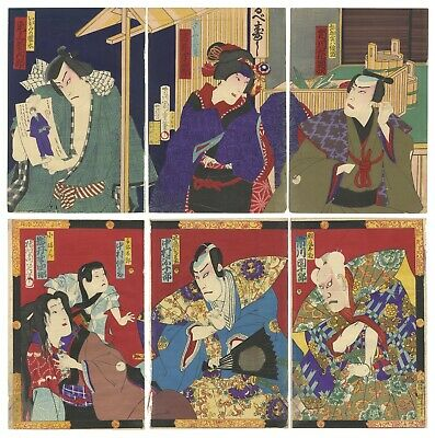 Original Japanese Woodblock Print, Ukiyo-e, Set of 2 Theatre Triptychs, Kabuki