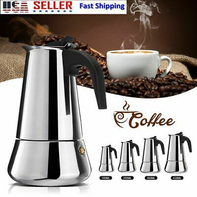 1pc Stainless Steel Moka Espresso Coffee Pot Maker Percolator Stovetop Cup