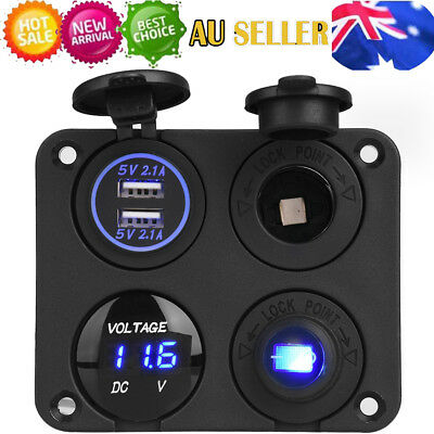 4 Hole Panel Dual USB Charger Voltmeter Power Socket ON-OFF Button for Car Boat