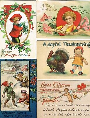 Lot of 60 ANTIQUE EARLY 1900s HOLIDAY Postcards     ( IMPERFECT )