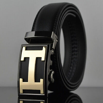 Fashion Mens Genuine Leather Belt Rachet Waistband Strap Automatic Buckle Belts