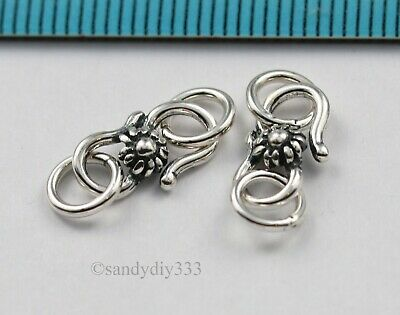 2x OXIDIZED STERLING SILVER FLOWER S HOOK CLASP 11.1mm #3103
