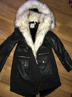 3a72dd3379c Ladies Size 12 River Island Wax Coated Parka Jacket Coat Faux Fur Collar Vgc