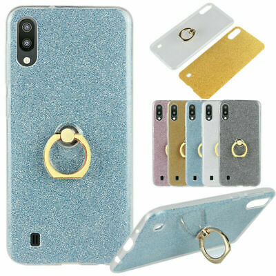 For Samsung Galaxy M10 M20 A30 A50 A70 Glitter Bling TPU Case Ring Stand Cover