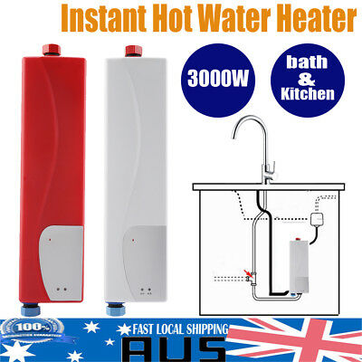 3KW Instant Electric Tankless Hot Water Heater System Under Sink Tap Faucet Kit