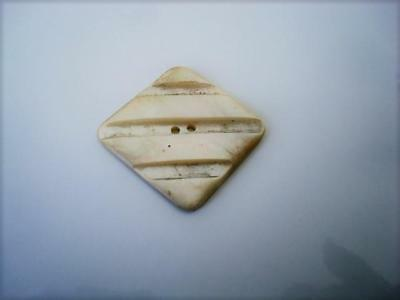 Vintage Diamond Shaped Carved Mother of Pearl Shell Sew Through Button 1 3/8 In.