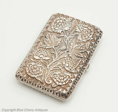 Antique Persian Marked Silver & Gilt Thistle Pattern Cigarette Case