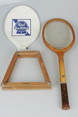 OLD National Tennis Racket Racquet Wright Ditson PABST BLUE RIBBON COVER FRAME