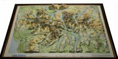 Lake District Raised Relief Map Light Wood Frame 9781906473013 | Brand New